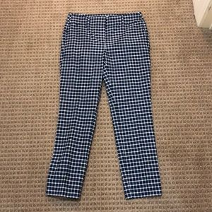 Navy and White Plaid Loft Outlet Work Pants